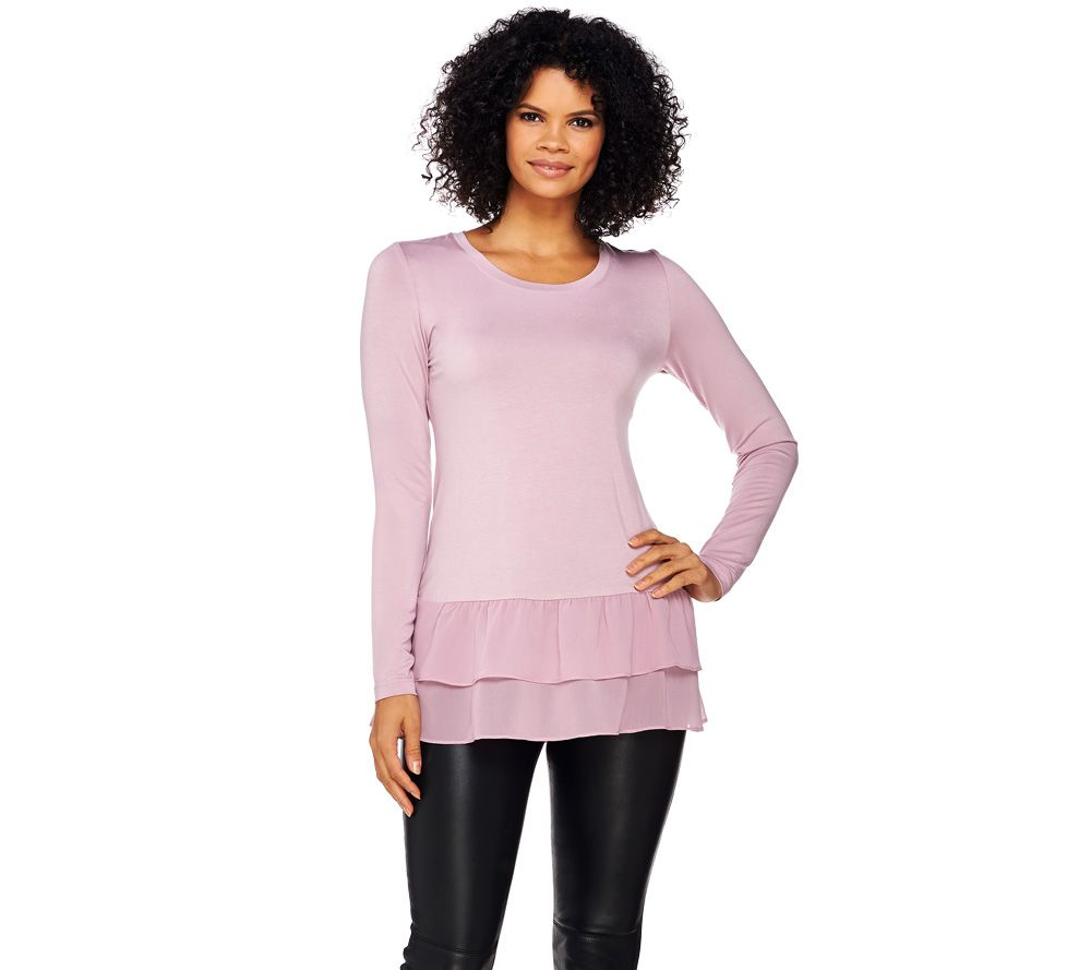 LOGO by Lori Goldstein Knit Top with Tiered Ruffle Chiffon Hem - A271138