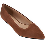 Isaac Mizrahi Live! Suede Pointed Toe Ballet Flats - A271838