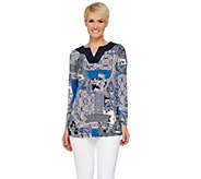 Susan Graver Printed Liquid Knit Long Sleeve Split Neck Tunic - A272338