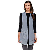 As Is LOGO by Lori Goldstein Slub Knit Vest with Embroidery and Chiffon Hem - A273238