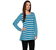 LOGO by Lori Goldstein Long Sleeve Sweater Knit Striped Top - A273338