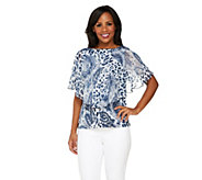 As Is George Simonton Boat Neck Print Top w/ Chiffon Capelet Detail - A275738