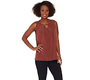Lisa Rinna Collection Sleeveless Woven Top w/ Pleat Detail - A278938