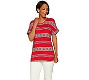 C. Wonder Medallion Stripe Print Short Sleeve Knit Top - A279338