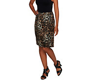 As Is George Simonton Leopard Print Pencil Skirt - A281838