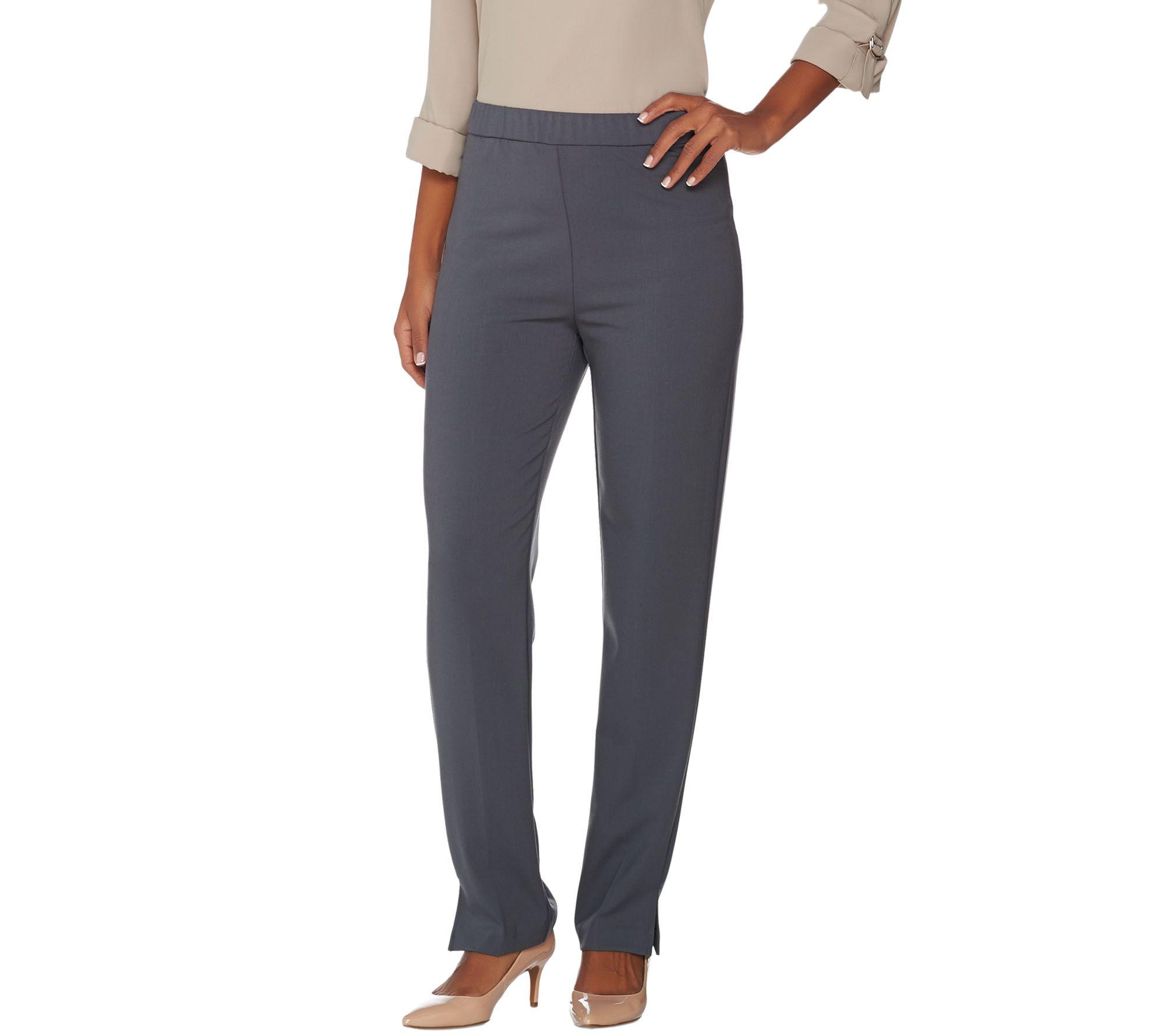 susan graver chelsea stretch pull-on straight leg pants - regular