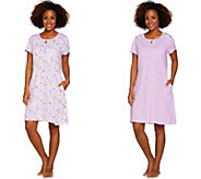Carole Hochman Daisy & Ditsy Twin Print Cotton 2-Pc Sleepshirt Set - A286838