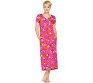 Stan Herman Petite Vibrant Gardens Cotton Hi-Lo Lounge Dress - A287238