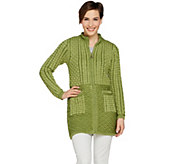 Aran Craft Merino Wool Zipped Cardigan with Jacquard Design - A290438