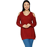 Hot in Hollywood Cable Knit Cold Shoulder Sweater - A295838
