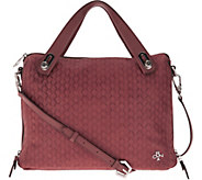 As Is orYANY Embossed Woven Leather Satchel - Kaley - A296638