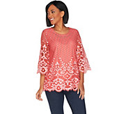 Isaac Mizrahi Live! 3/4 Sleeve Bi-Color Lace Tunic - A301938