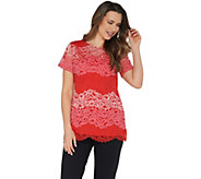 Isaac Mizrahi Live! Tri-Color Floral Lace Tunic with Knit Back - A305238