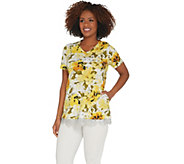 LOGO by Lori Goldstein Printed Cotton Slub Top w/ Lace Trim - A305438