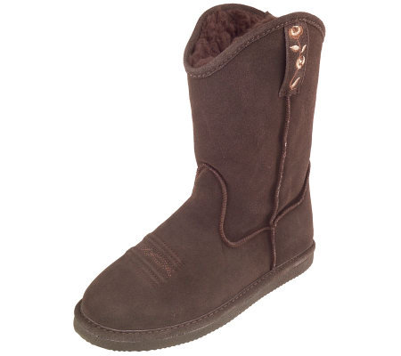 Bearpaws Suede Pull-on Boots with Faux Fur Lining and Embroidery