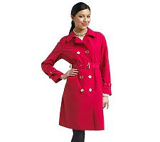 Isaac Mizrahi Live! Trench Coat with Logo Buttons