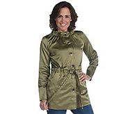 Liz Claiborne New York Belted Crew Neck Anorak Jacket - A211639