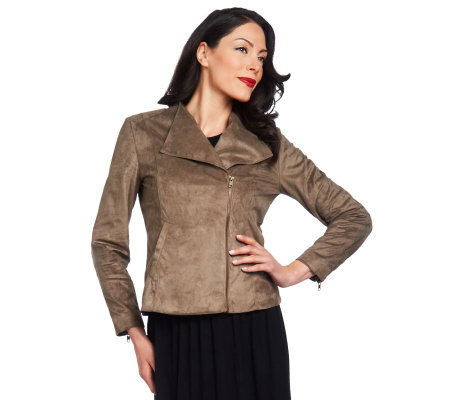 Lisa Rinna Collection Asymmetrical Faux Suede Jacket