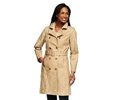 Isaac Mizrahi Live! Floral Embroidered Trench Coat