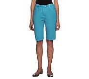 Bob Mackies Smart Denim Fly Front Shorts with Elastic Waist - A234639