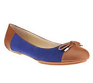 Isaac Mizrahi Live! Suede Ballet Flats with Bow - A235039