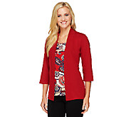 Denim & Co. Knit 3/4 Sleeve Cardigan Duet w/ Print Inset - A238339