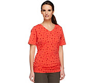 Denim & Co. Perfect Jersey Dot Print Top with Side Shirring - A252639