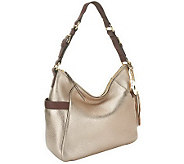 As Is Isaac Mizrahi Live! Bridgehampton Leather Zip Top Hobo - A254839
