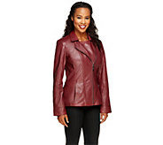 Denim & Co. Lamb Leather Motorcycle Jacket with Pockets - A255539