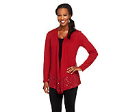 Joan Rivers Long Sleeve Waterfall Knit Cardigan with Sequin Border - A257939
