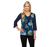 Susan Graver Printed Liquid Knit V-Neck Top with Sheer Chiffon Sleeves - A260339