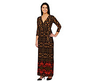 Attitudes By Renee Regular Printed Jersey Knit Wrap Maxi Dress - A261839