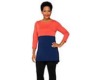 Susan Graver Premier Knit Colorblock Bateau Neck Tunic - A261939