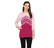 Bob Mackies Embroidered 3/4 Sleeve Pullover Top - A263339