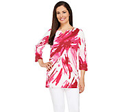 Liz Claiborne New York 3/4 Sleeve Bateau Split Neck Top - A263439