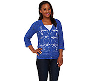 Liz Claiborne New York Hand Crochet V-Neck Cardigan - A264139