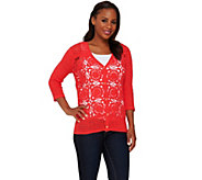 Liz Claiborne New York Hand Crochet V-Neck Cardigan - A264139