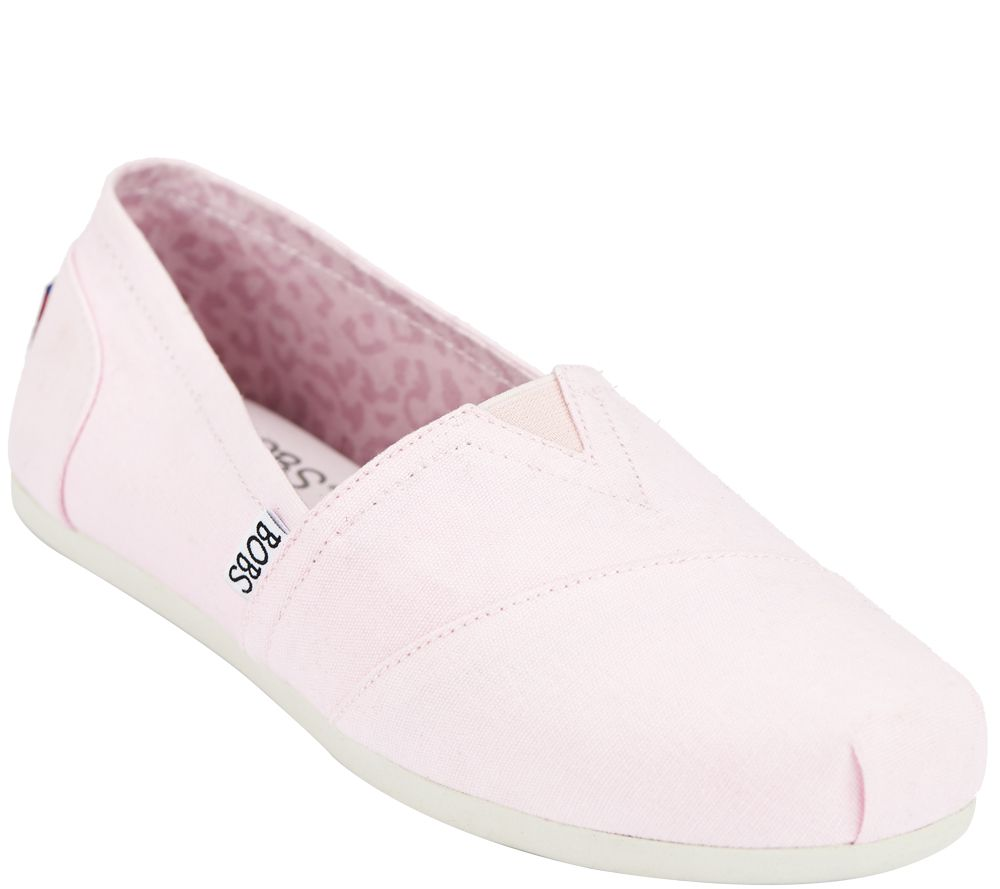 Skechers Bobs Slipon Canvas Sneakers with Memory Foam Plush