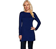 Susan Graver Rayon Nylon A-Line Tunic Sweater with Pockets - A267439