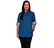 Joan Rivers Houndstooth Boyfriend Shirt w/ Long Sleeves - A267539