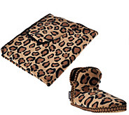 MUK LUKS Leopard Fleece and Faux Fur Booties & Wrap Set - A268639