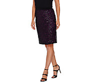 Bob Mackies Pull-On Pencil Skirt with Sequin Overlay - A269539