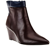 H by Halston Two-tone Leather Wedge Ankle Boots - Kimberly - A269839