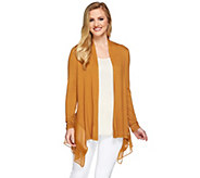 LOGO by Lori Goldstein Knit Cardigan with Pleated Chiffon Trim - A273039