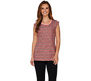 LOGO Lotus by Lori Goldstein Striped Tank with Space Dye Neck Trim - A276339
