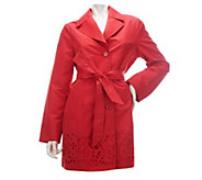 As Is Dennis Basso Notch Collar Belted Swing Jacket w/ Eyelet Detail - A276839