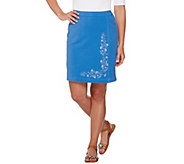 Quacker Factory DreamJeannes Floral Embroidered Skort - A277439