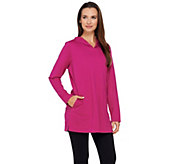 As Is Denim & Co. Active Petite French Terry Tunic w/ Hood - A278039