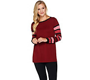 Bob Mackies Striped Sleeve Knit Pullover Top - A279239
