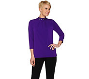 Susan Graver Artisan Liquid Knit Embellished Mock Neck Top - A279739